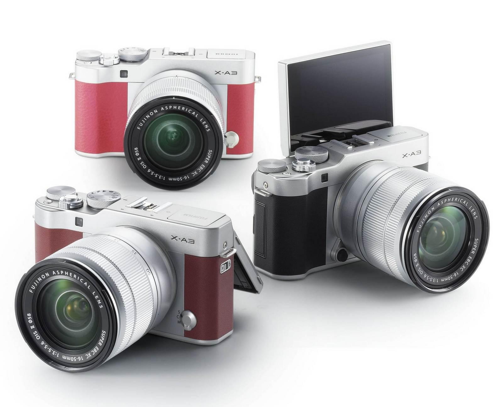 Fujifilm X-A3 - Cámara EVIL de 24 MP (Rosa, camel y negro)  con Objetivo XC 16-50 mm