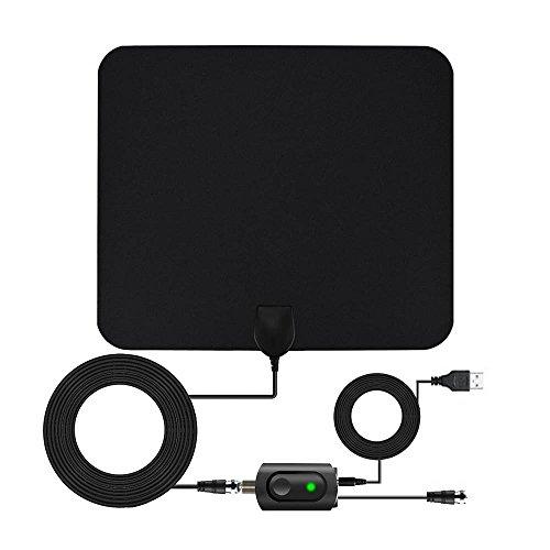 Antena Interior HD TV con Portatil Amplificador, 60-80 Millas