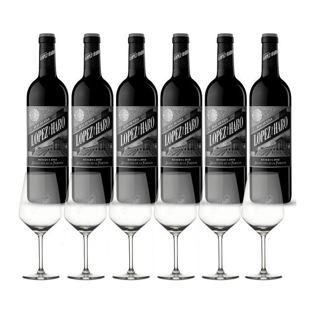 López de Haro Estuche 6 botellas+ 6 copas, Vino tinto López de Haro Selección de la Familia Reserva Rioja