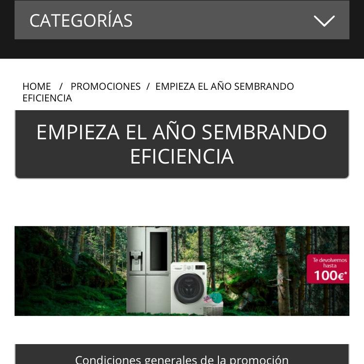 Web oficial de chollos LG hoy hasta 100€ de promoción aparte del precio oferta