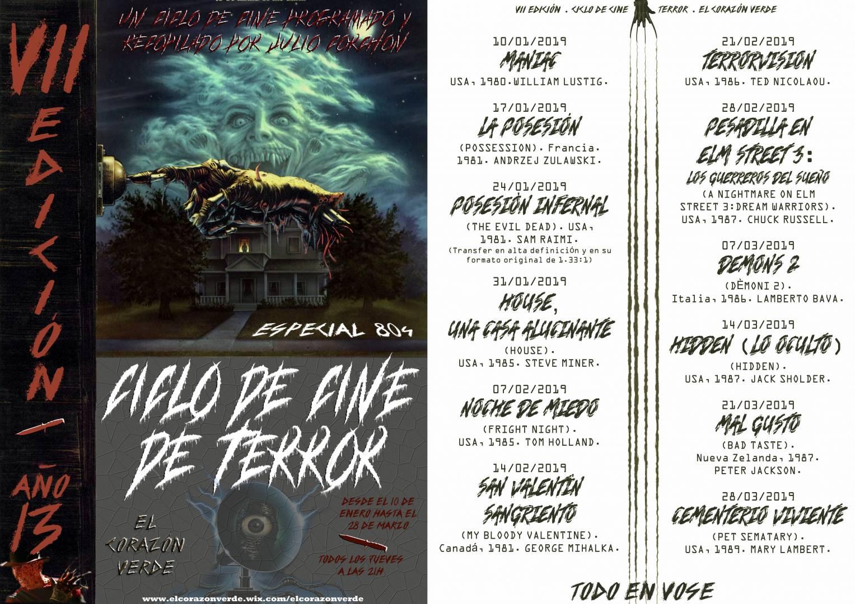 """Ciclo De Cine """"Año 13"""" películas de terror a tutiplén GRATIS"""