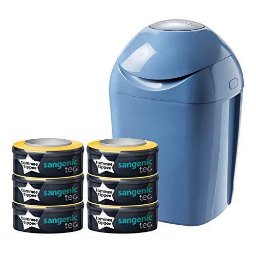 Set básico de contenedor de pañales + 6 recambios (azul)
