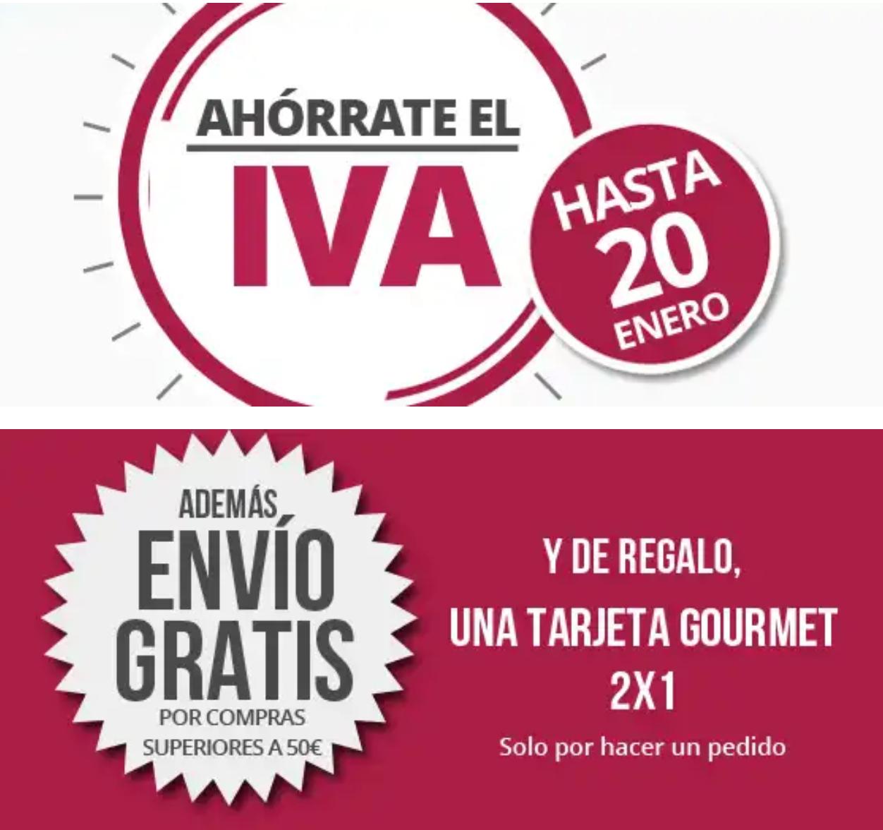 La Tienda en Casa: Día sin Iva + 10€ Dto. + tarjeta Gourmet 2×1