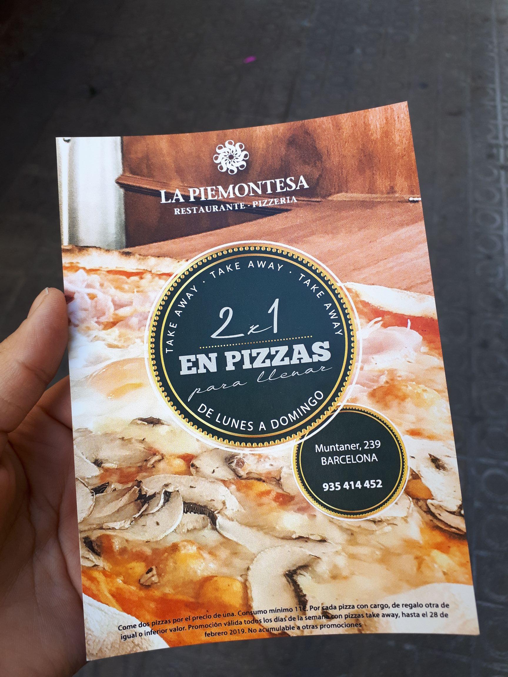 2x1 pizzas artesanas Barcelona/ Piemontesa