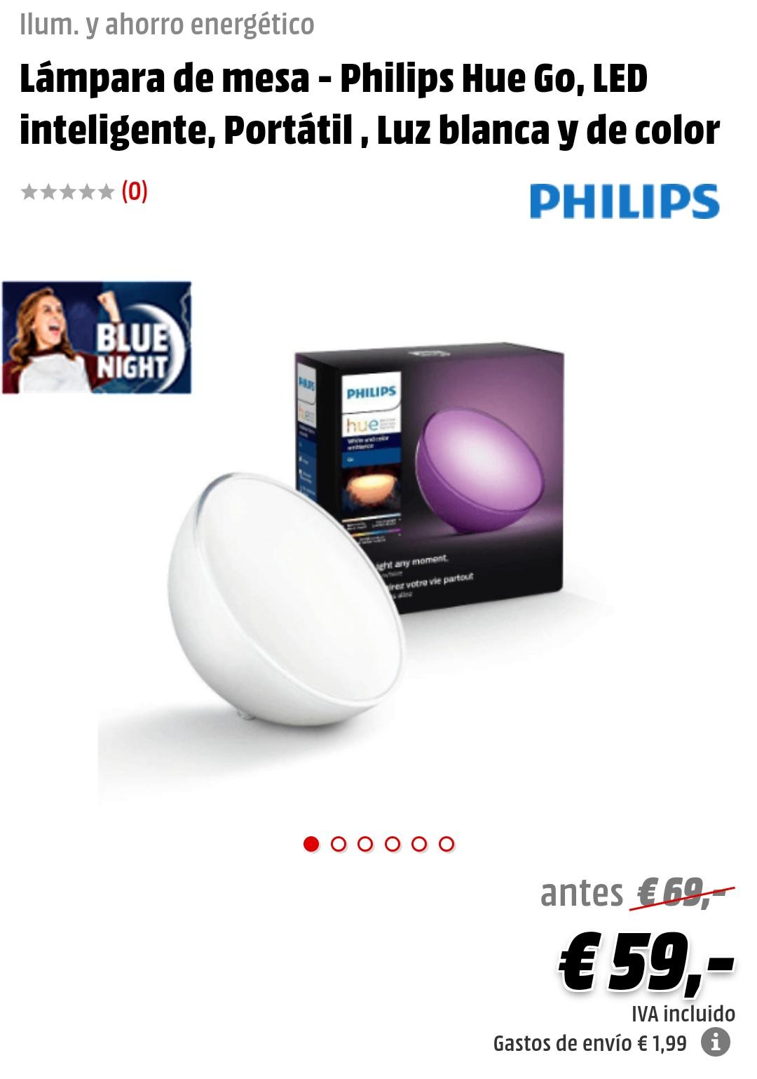 Productos HUE Philips: Lámpara Hue Go y Lightstrip Plus 2m+1m
