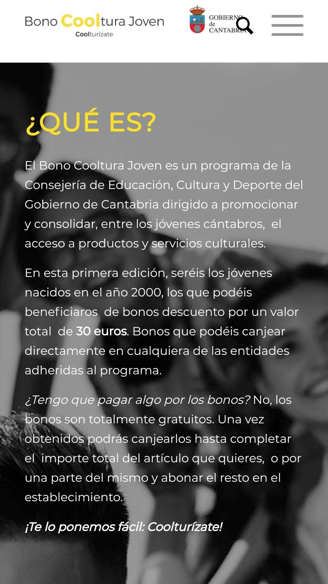 BONO GRATIS DE 30€ PARA JÓVENES DEL 2000  EN CANTABRIA