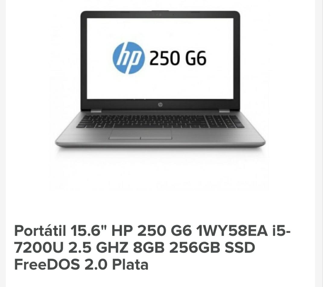 Portátil HP 250 G6 I5 7200u 8Gb 256ssd