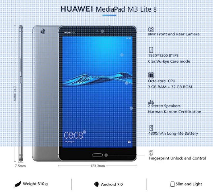 """Huawei MediaPad M3 Lite 32GB+3GB 8"""""""