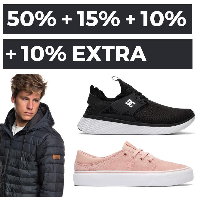 50% +15% +10% +10% em  Roxy,DC y Quiksilver