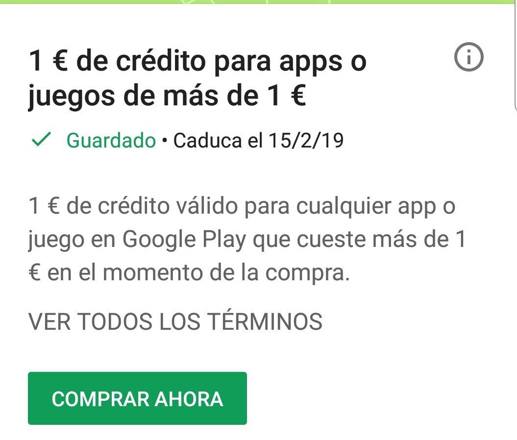 1€ GRATIS para Google Play para Apps o juegos