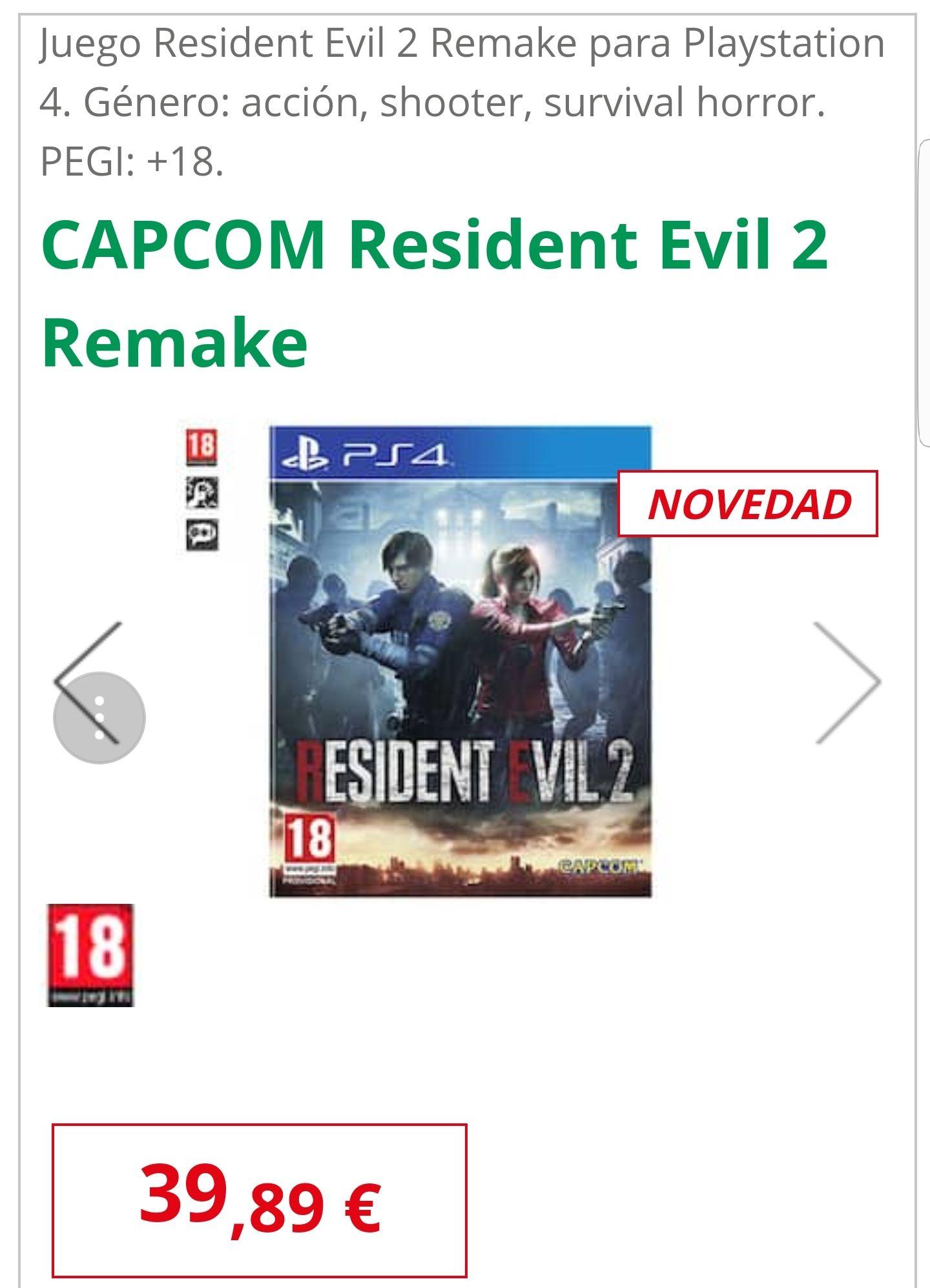 Juego Resident Evil 2 Remake para Playstation