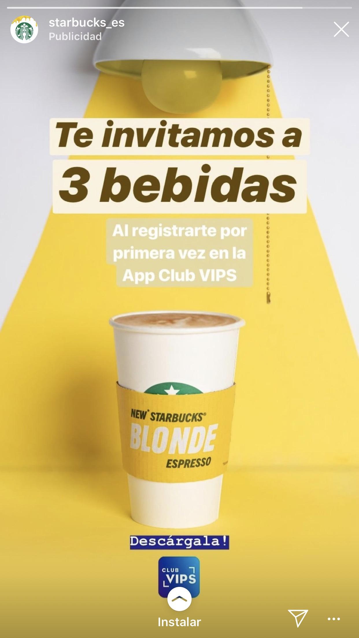 ¡3 bebidas gratis en Starbucks al registarte en la app club VIPS!