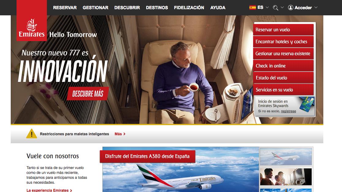 Hasta 45€ en vuelos con Emirates