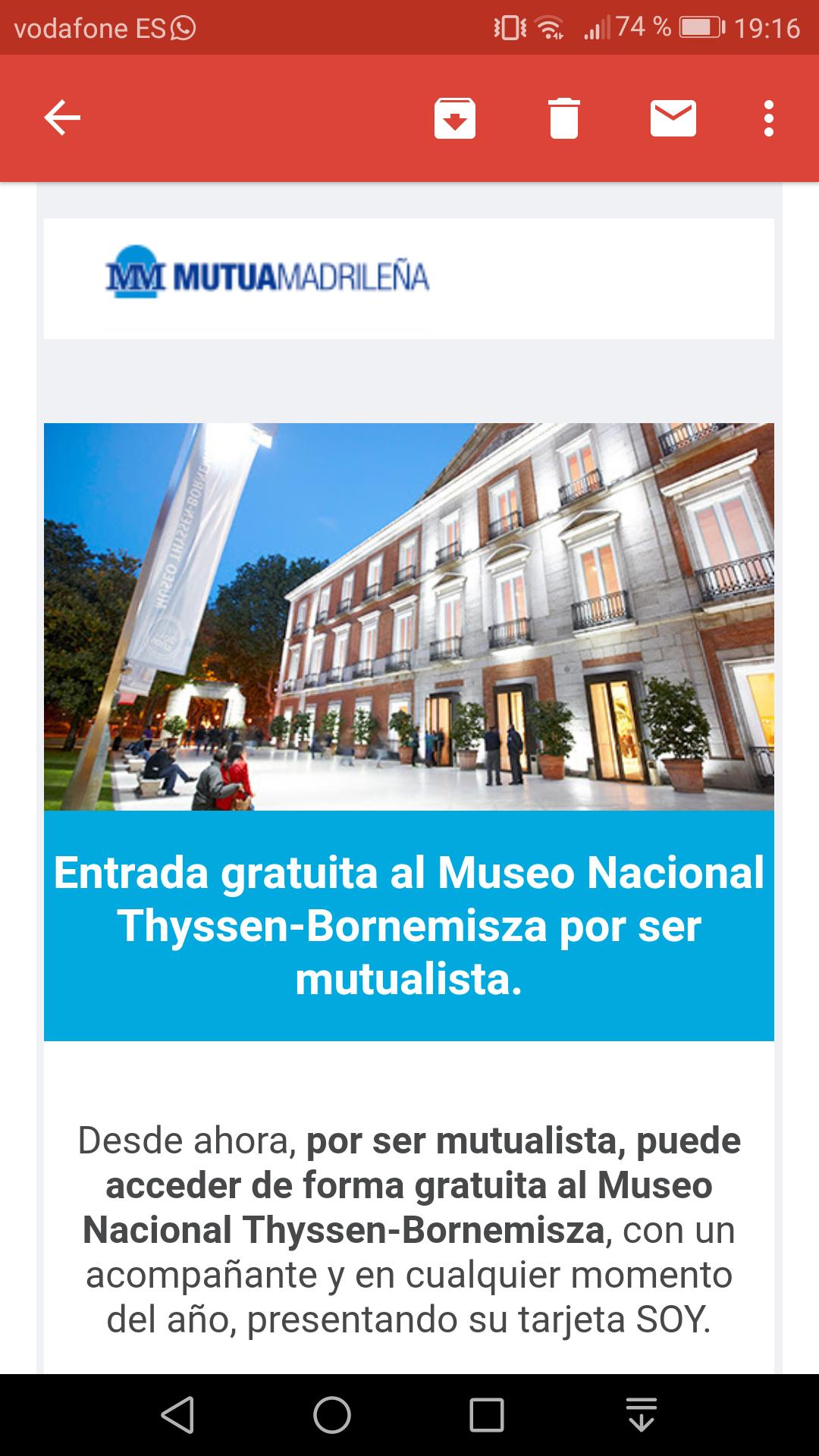 Entrada gratuita al Museo Nacional Thyssen-Bornemisza por ser mutualista.