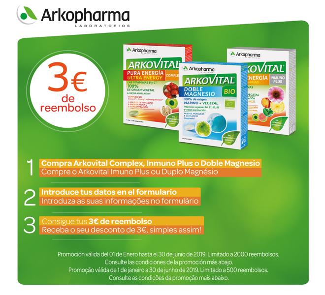 Reembolso de 3€ en productos Arkovital