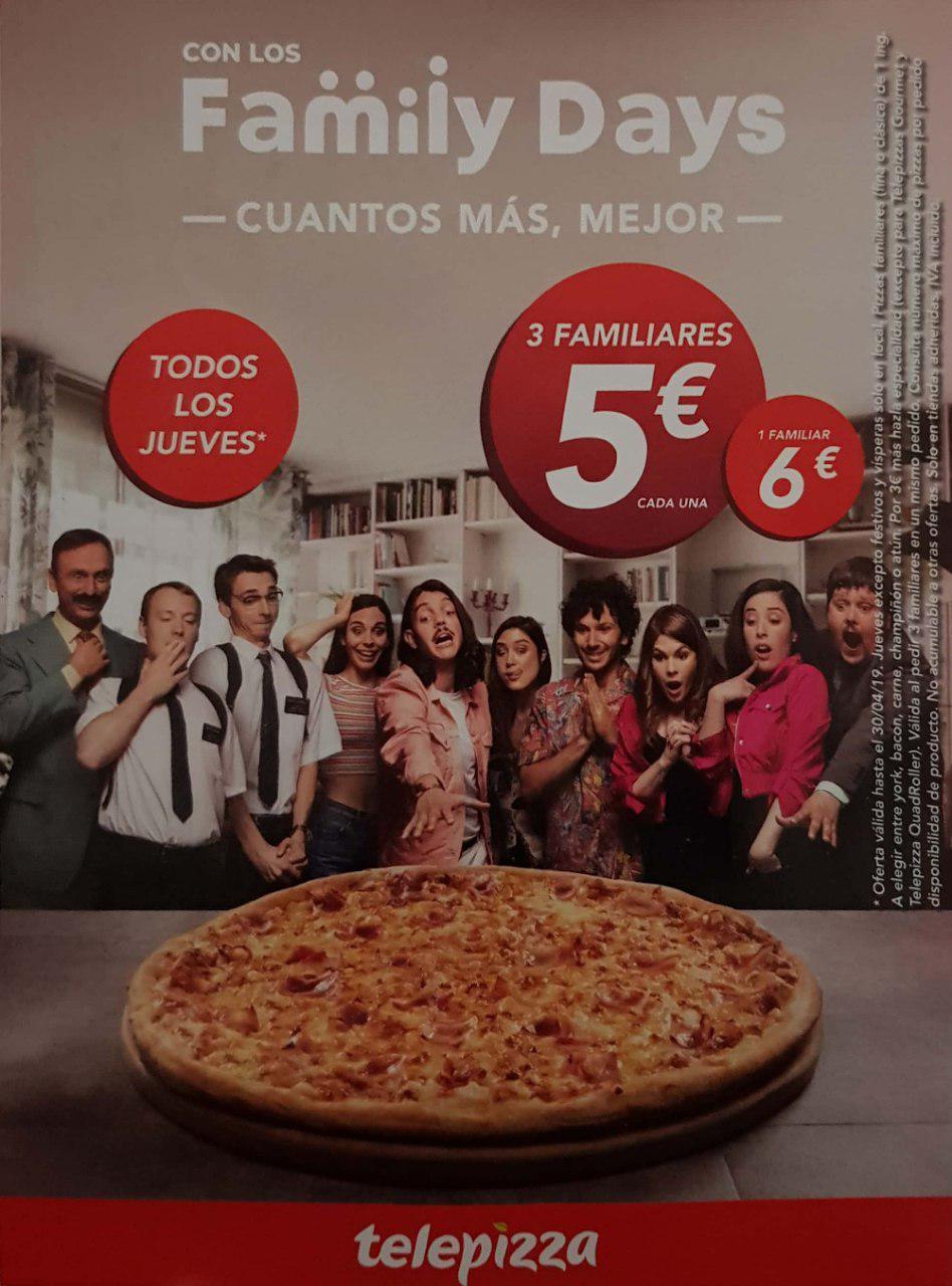 Family Days en Telepizza: 3 pizzas familiares (de 1 ing.) por 5€ cada una