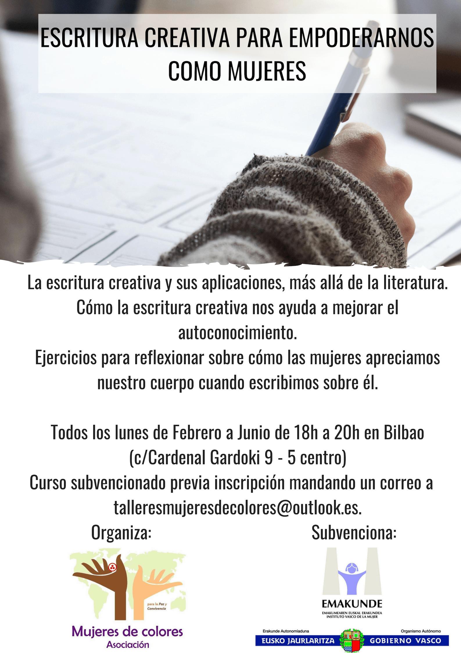 Curso gratuito de Escritura creativa para mujeres en Bilbao