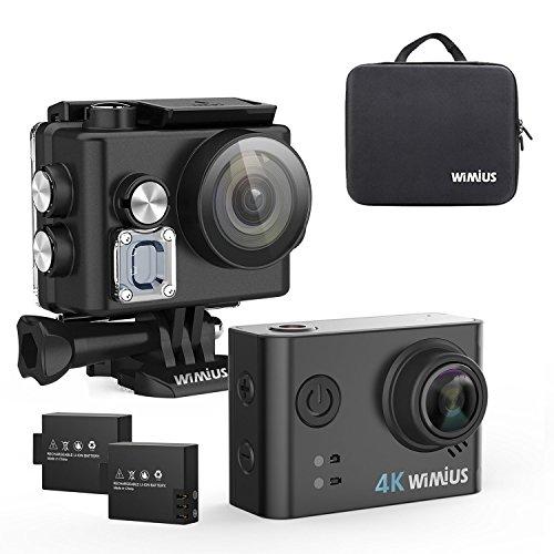 Cámara Deportiva 4K,WiMiUS L2 Cámara Acción Wifi HD 1080P 12MP Videocámara Impermeable 40m con Función UAV FPV,Grabar con la Cámara Invertida(negro+bolso)
