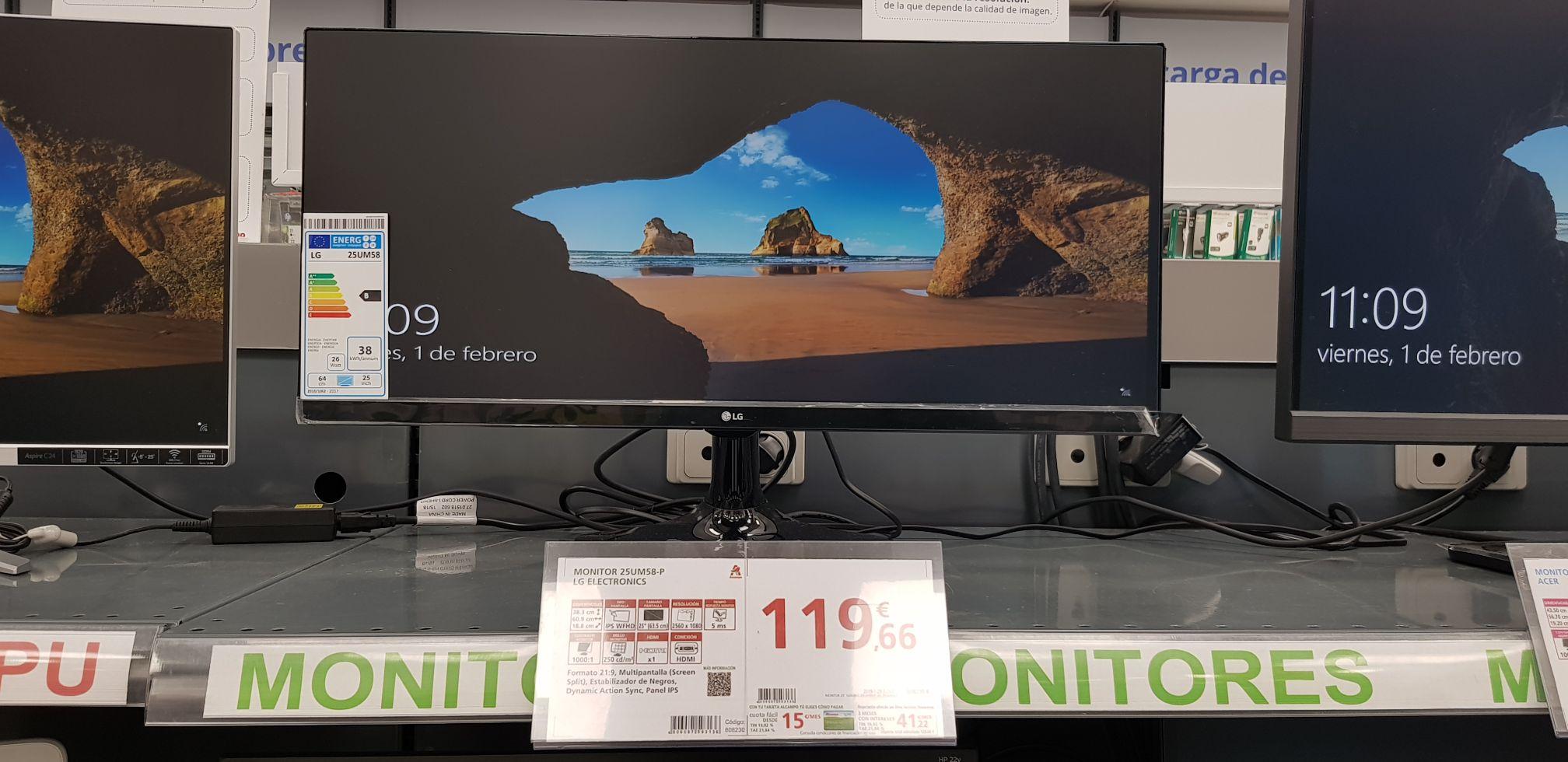 """Monitor UltraWide 25"""" LG (Alcampo de Sevilla)"""