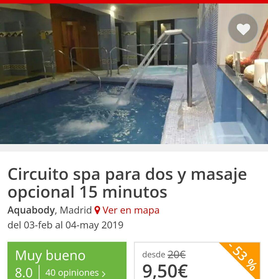 Circuito spa para dos y masaje opcional 15 minutos a parte. Precio por pareja. Madrid