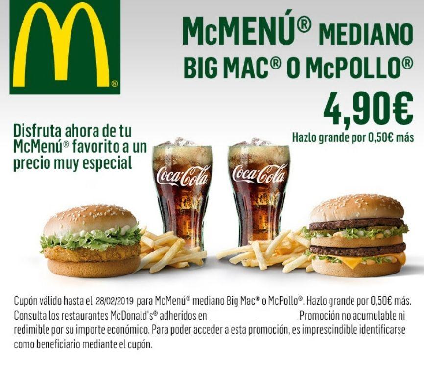 McMenú mediano BigMac o McPollo [Solo Madrid]