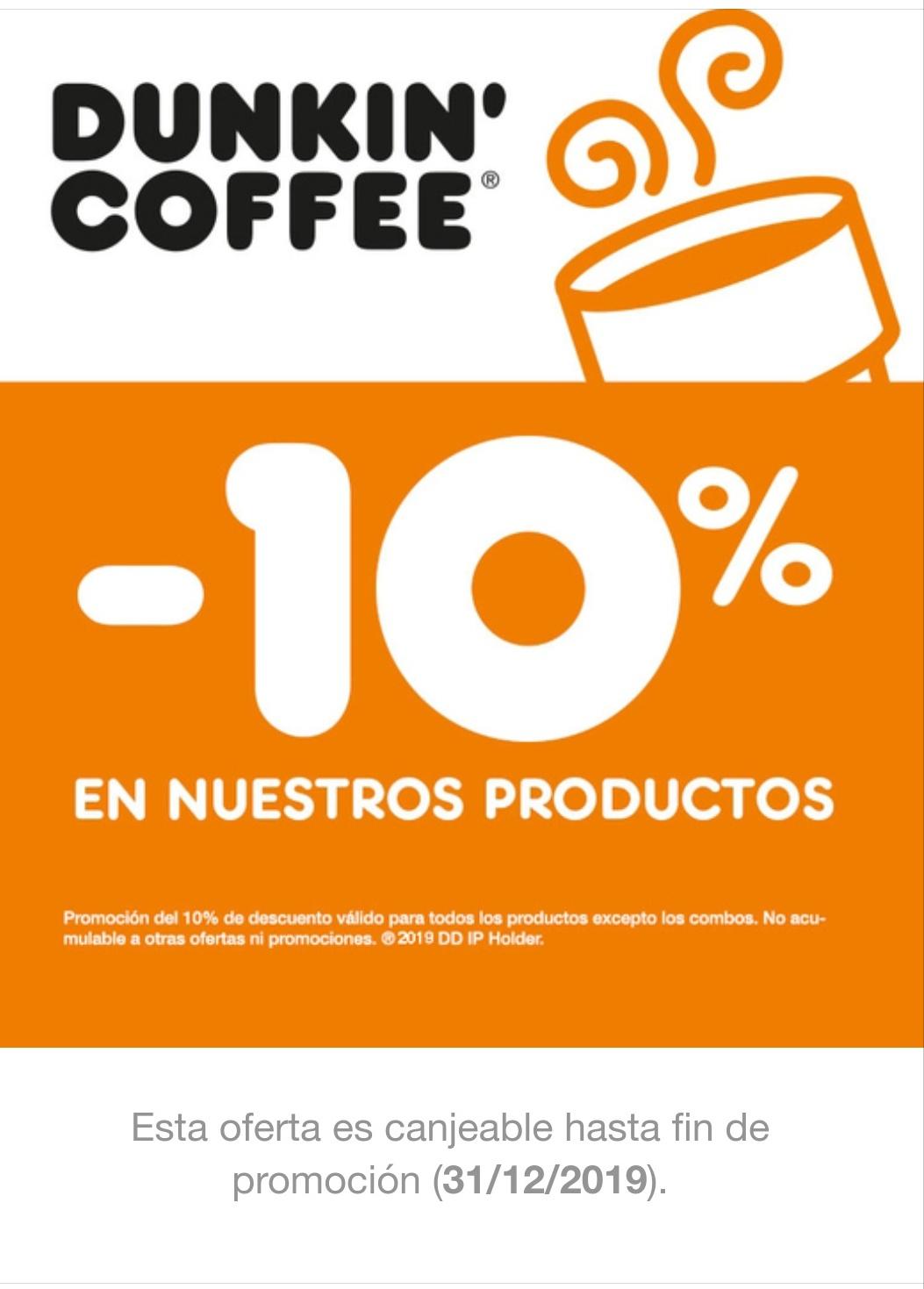Descuento -10% en Dunkin Coffee
