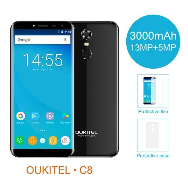 "Oukitel C8  5,5"" Android 7.0 3000mAh, 2GB RAM, 16GB, MT6580"