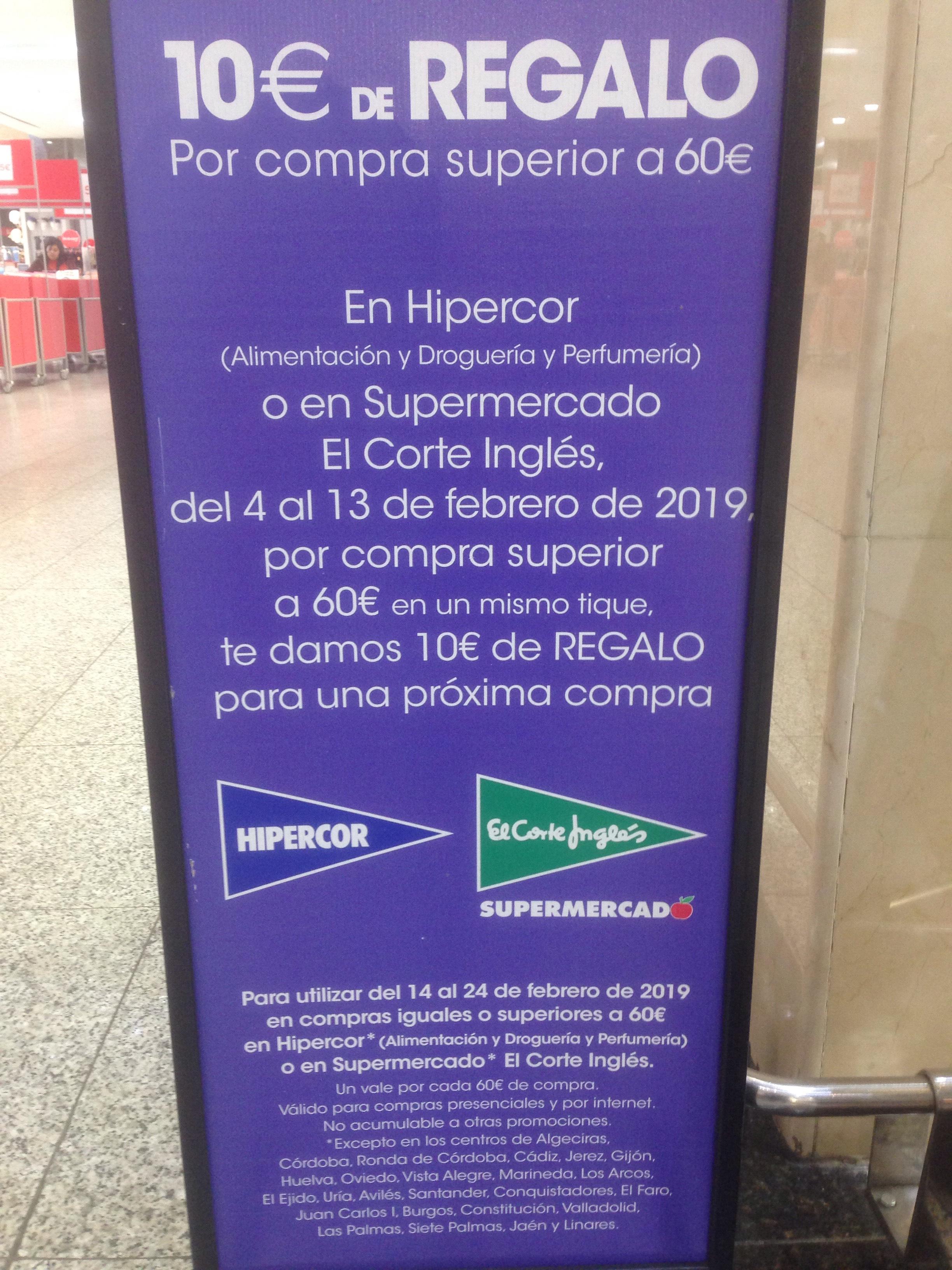 Hipercor: 10€ por compra de 60€ (Alimentación, droguería y perfumería)
