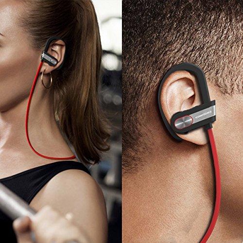 Auriculares deportivos sin cables Bluetooth V4.1: Set de auriculares estéreo intraurales con cancelación de ruido,micrófono funciones de voz compatible con dispositivos Android y iOS