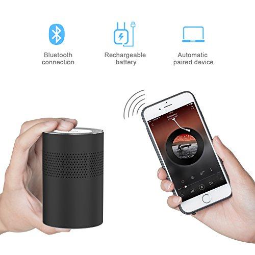 Mini Altavoz Bluetooth Estéreo Sonido envolvente de 360 Grados,Compacto Altavoz Portátil Altavoz Inalámbrico sonido de alcance de 30m²,Superficie de Aluminio,Tarjeta Micro SD