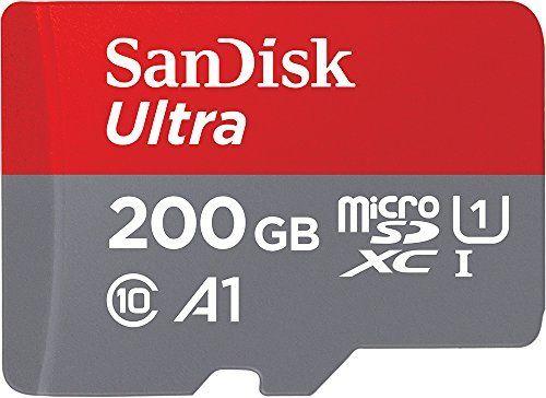 Tarjeta de memoria SanDisk Ultra Android microSDXC UHS-I de 200 GB con adaptador SD, velocidad de lectura hasta 100 MB/s, Clase 10, U1 y A1