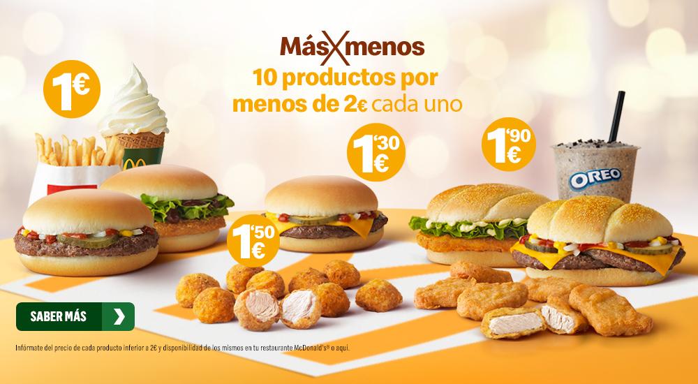 10 productos por menos de 2€ cada uno McDonalds