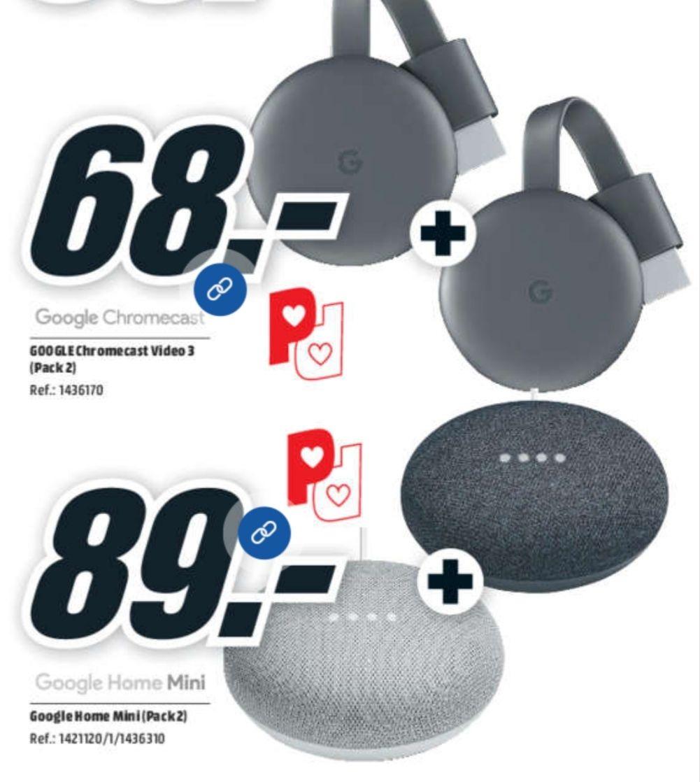 Packs ahorro : 2 Chromecast 3 por 68€ y 2 Google Home Mini por 89€ + ENVÍO GRATIS EN TODO