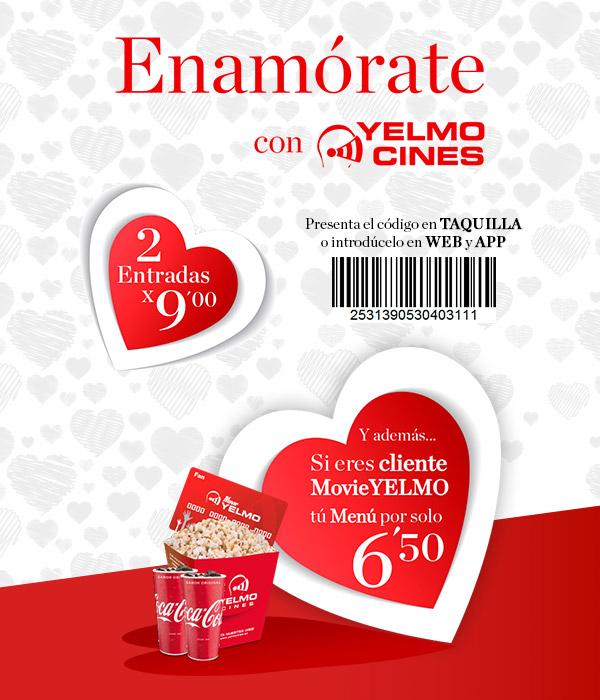 YELMOCINES, 4,50€  durante la semana de San Valentín
