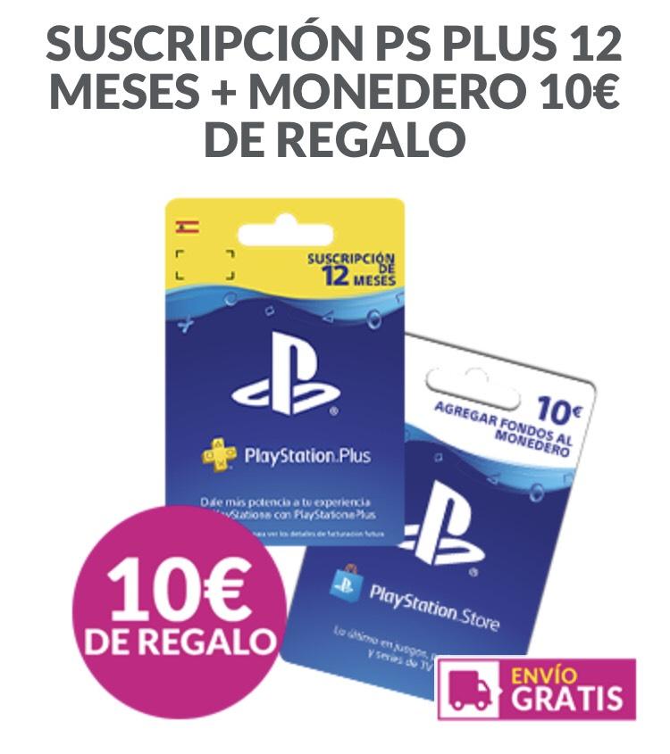 SUSCRIPCIÓN PS PLUS 12 MESES + MONEDERO 10€ DE REGALO