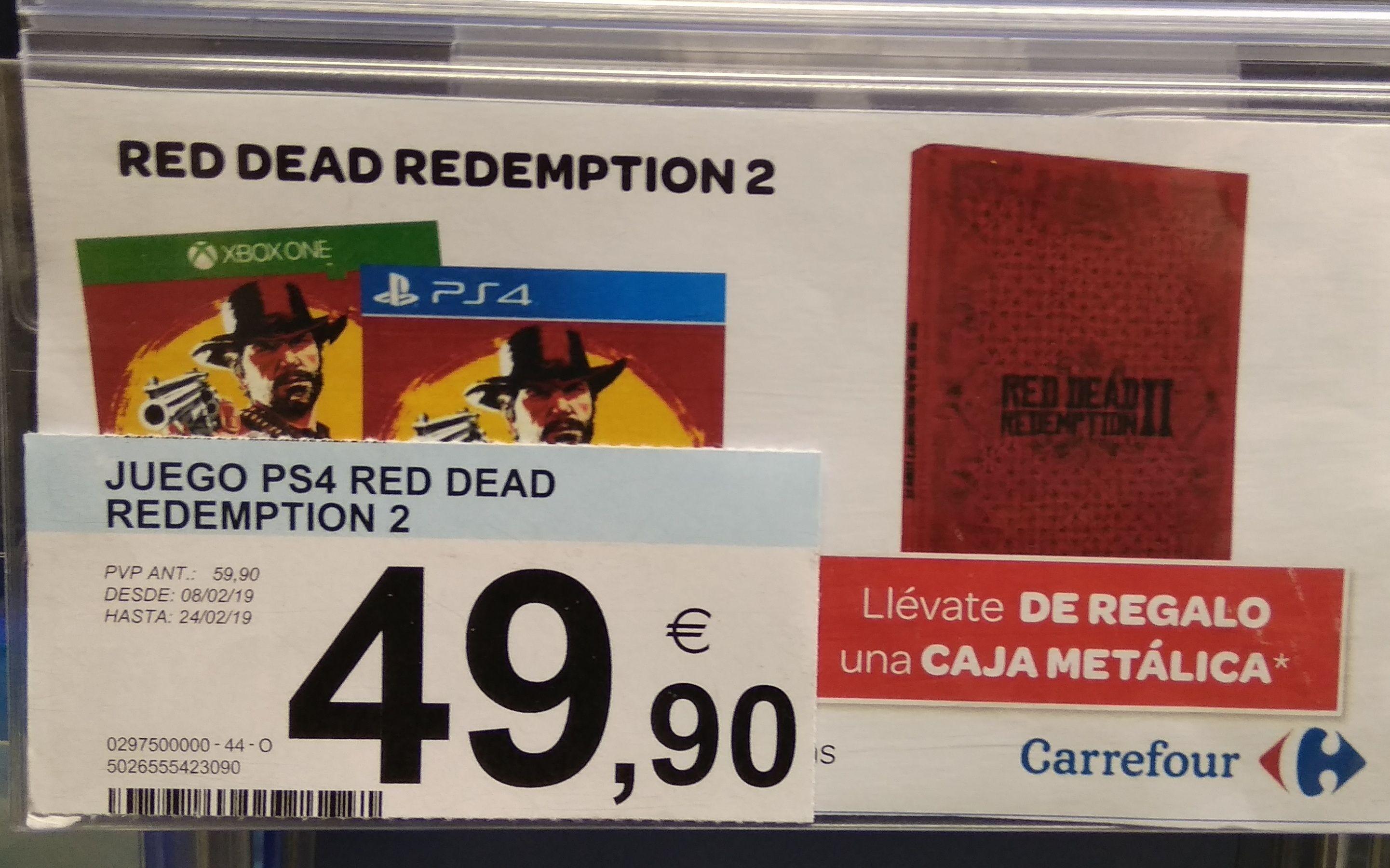 Red dead redemption 2 (PS4, XB1) + caja metálica (Carrefour Madrid Mar de Cristal)