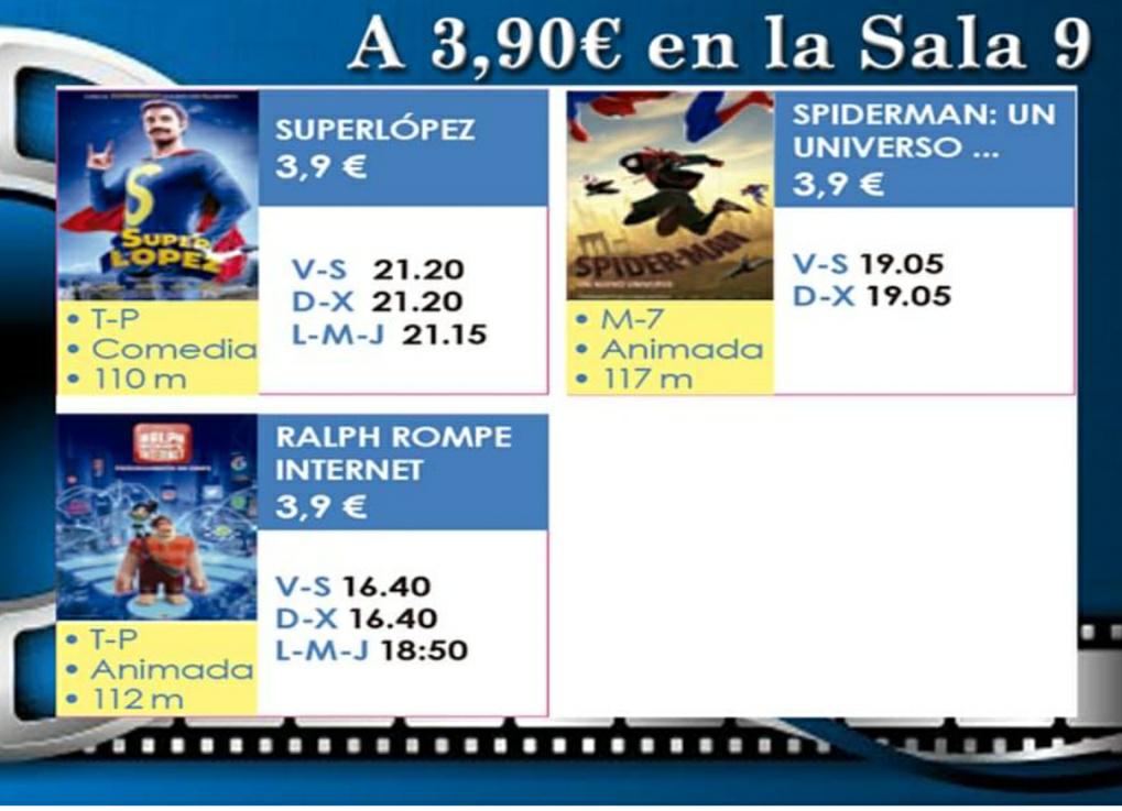 Entradas a cine a 3,90€