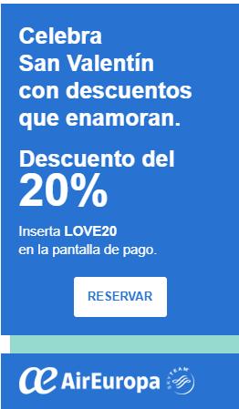 Aireuropa, 20% descuento con Cupón LOVE20