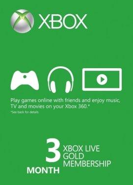 3 meses Xbox Live Gold membresía