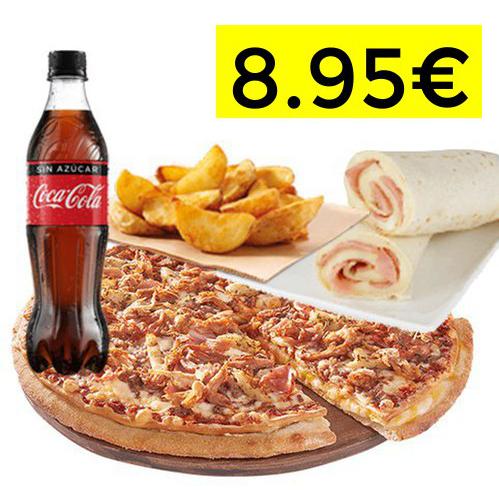 Telepizza mediana + refresco 500ml + complemento + enrollado a domicilio por solo 8,95€