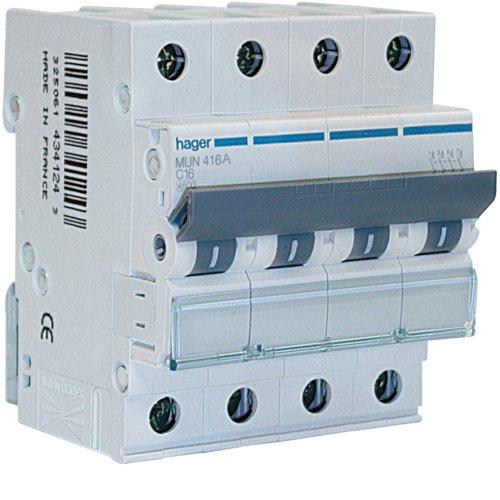 Interruptor Magnetotérmico Hager Serie MU, 3P+N, 63A, curva C, 6kA (sin stock actualmente)