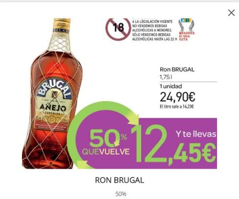 Ron Brugal 1,75 lts. en Carrefour (Devolución 50% en cupón regalo)