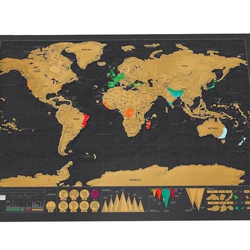 Mapa del mundo para rascar los países visitados 42x30cm