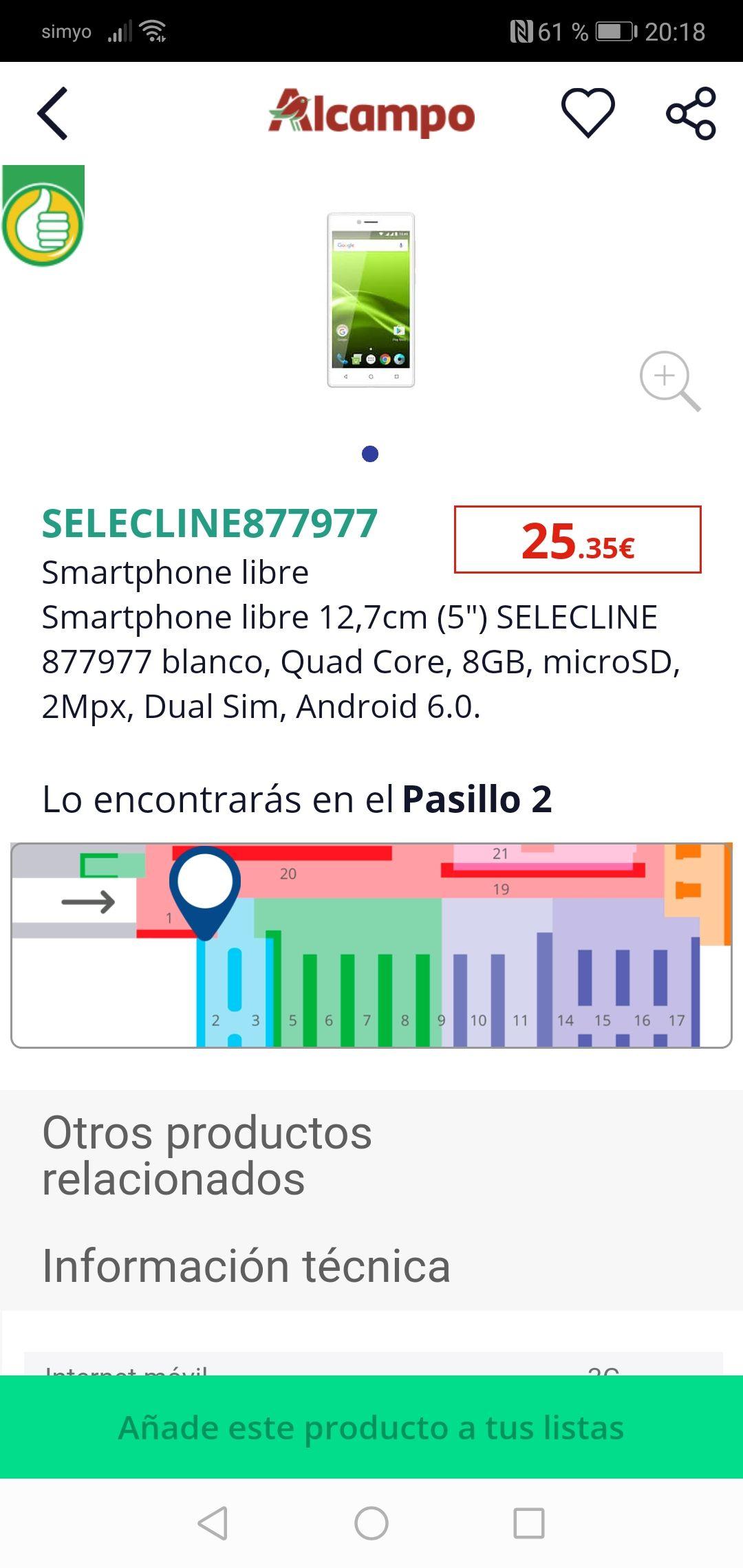 Movil muy barato Alcampo Huesca (Desde la app de alcampo)