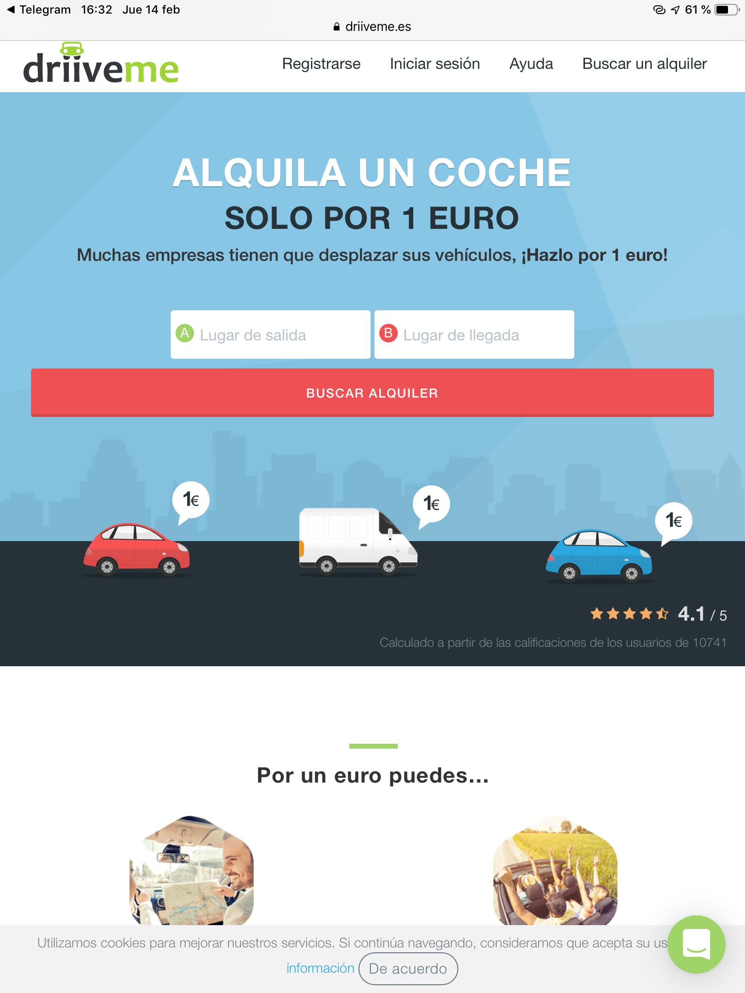 Coches y furgonetas de alquiler...  ¡SOLO 1€!