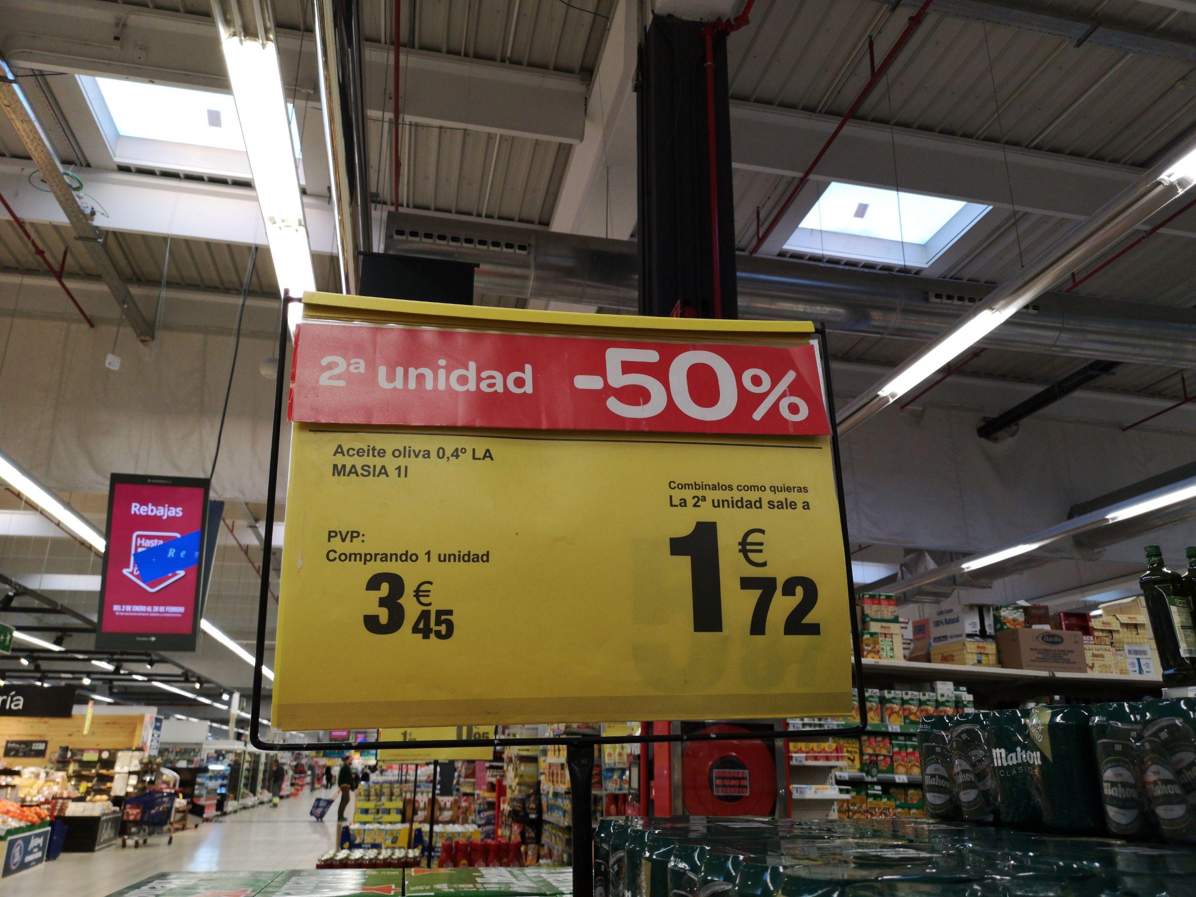 Carrefour_2 unidades de aceite oliva la masía 1 litro.