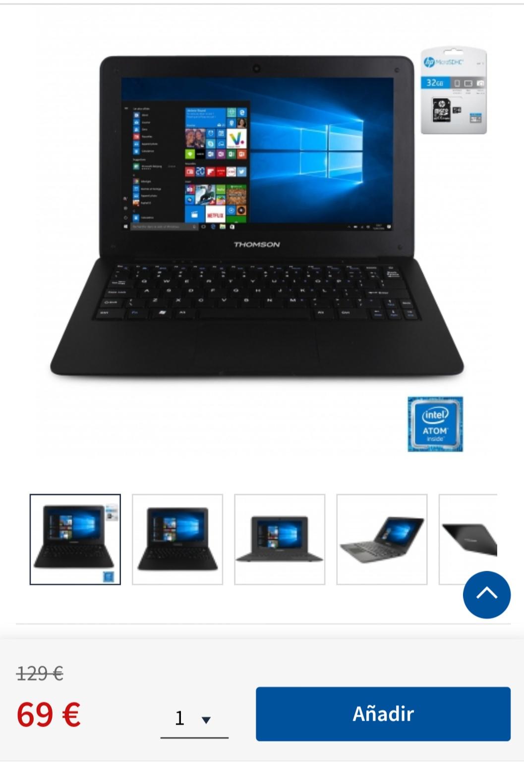 """Portátil Thomson SP-Neo 10 con Intel, 1GB, 32GB, 25,65 cm - 10,1"""" con MicroSD HP 32GB"""