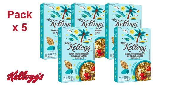 5 Paquetes Kellogg's Cereales sin Azúcar Añadido Frutos Secos - 5 de de 300 gr - Total: 1500 gr