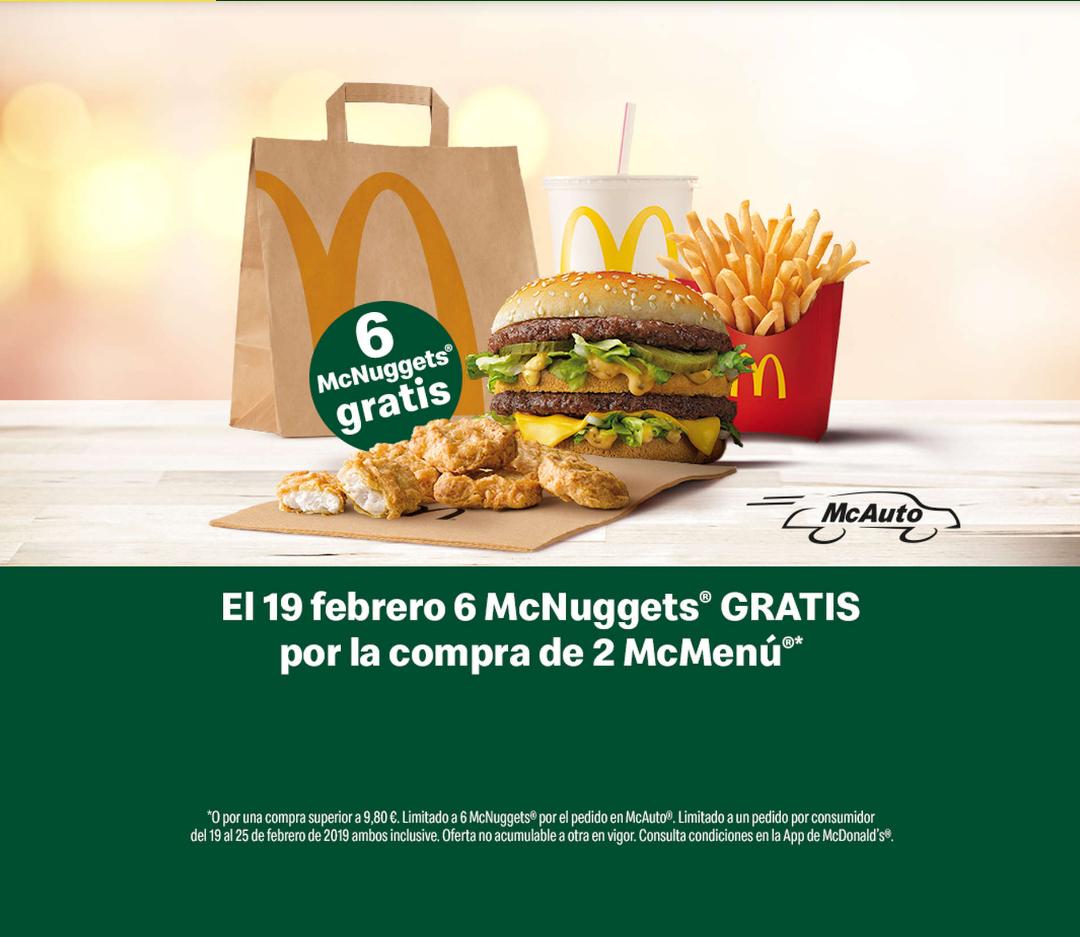 6 Nuggets gratis por la compra de 2 McMenus o pedido superior a 9,80€ en McAuto