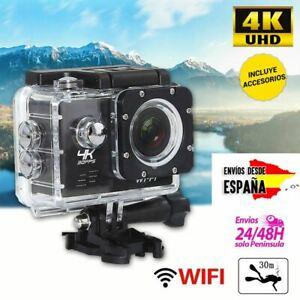 Cámara 4K deportiva ultra HD WIFI cámara de acción y vídeo + kit de accesorios